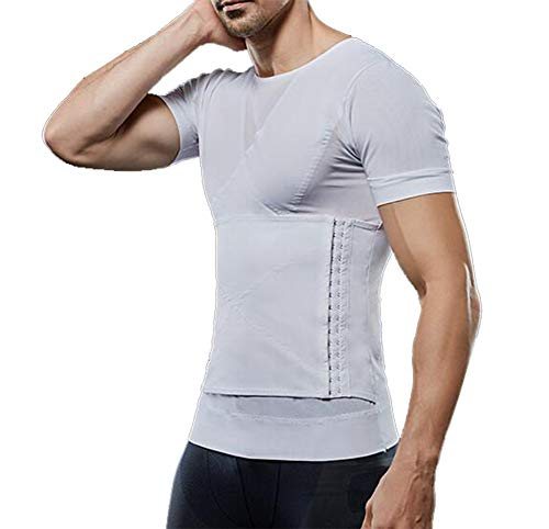 QQA Men's Compression Shirt to Hide Gynecomastia Moobs Chest Breathable Gym Exercise,XL