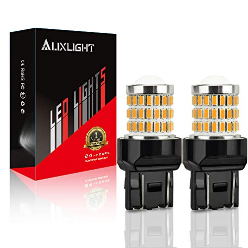AUXLIGHT 7440 7441 7443 7444 T20 992 W21W LED Bulbs Amber Yellow, Ultra Bright 57-SMD LED Replacement for Blinker Lights, Turn Signal/Parking or Running Lights, Brake/Tail Lights (Pack of 2)