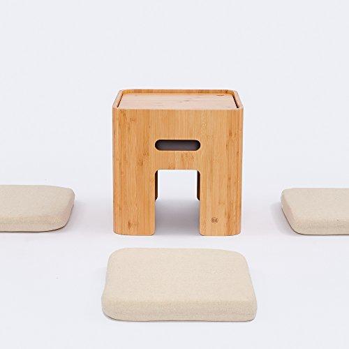 Bamboo Living Room Ottoman - Small Storage Ottoman with 4 Cushions Coffee Table Tatami Tea Table Bamboo Stool Living Room Furniture