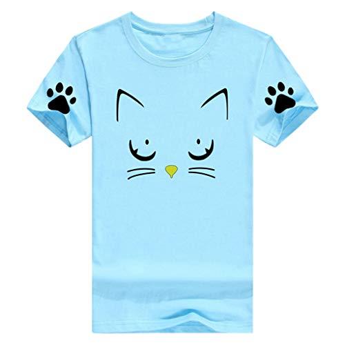 (YKARITIANNA Women Girl 2019 New Summer Casual O-Neck Cat Print Tops Tee Shirts Blouse)