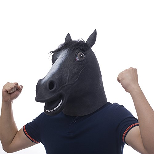 molezu Halloween Novelty Deluxe Mask Black Fur Mane Horse Head Mask -