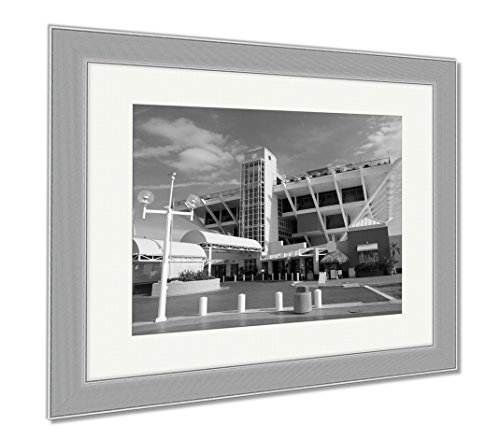 Ashley Framed Prints Pier In St Petersburg Florida, Wall Art Home Decoration, Black/White, 30x35 (frame size), Silver Frame, - In St Malls Pete