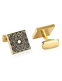 Bishilin Gold Plated Cufflink Men | Women Gold Black Tuxedo Shirts Vintage Flower Cuff Links Wedding Business