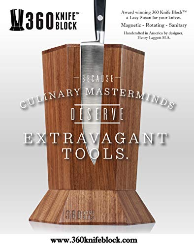 360 Knife Block - (Walnut) ROTATING - Magnetic - BEST Universal Knife Block by 360 Knife Block (Image #3)