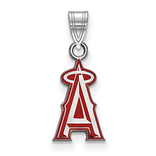 (MLB Los Angeles Angels Sterling Silver MLB LogoArt Los Angeles Angels Sm Enl Pendant Size One)