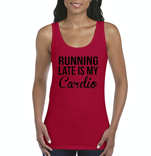 NIB Running Late is My Cardio Women's Tank Top Clothes (XLR) Red ()