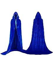 Proumhang Lange fluwelen cape met capuchon Unisex volwassen kostuum Halloween