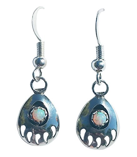 Medium-size St Silver 925 Bear Claw Created Fire Opal Handcrafted Navajo 2 Dangling Feather Earrings