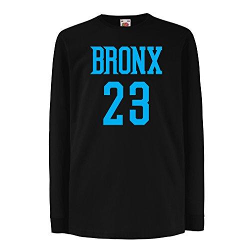 lepni.me Camisetas de Manga Larga para Niño Bronx 23 - Moda de Estilo Callejero (5-6 Years Negro Azul)