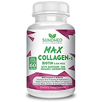 Sundhed Max Collagen Plus C (60 caps) - All Natural Collagen Capsules with Biotin & Bioperine to Boost Anti Aging Hydration & Skin Firmness - Collagen Pills ...