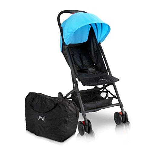 Jovial Portable Folding Baby Stroller – Lightweight, Compact & Foldable for Travel – Includes Storage Bag Cover, Under Basket, Adjustable Seat, Harness Straps & Protective Canopy ( Blue ) by Jovial