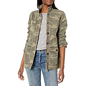 Lucky Brand Women's Long Sleeve Button Up Camo Printed Utility Jacket