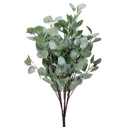 5pcs Artificial Silver Dollar Eucalyptus Leaf Spray Garland Branches Leaves Plant Greenery Holiday Faux Silvery Greens Floral Arrangement ()