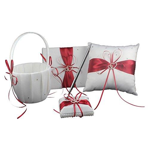 Red Wedding Accesorries Wedding GuestBook+Pen Set+Flower Girl Basket+Ring Bearer Pillow,Decor Ribbon Bowknot Double Heart Diamante Crystal Rhinestone Buckle, Elegant Wedding Ceremony Party