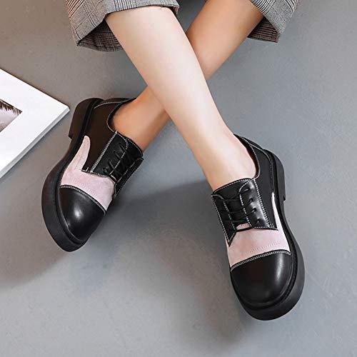 De Femmes En couleur Khaki Black Universitaire 39 Taille Cuir Pink Chaussures Style Décontractées Automne Britannique Simples Hwf Femme Pour XtZOCw0q