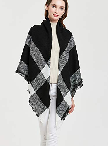 Wander Agio Womens Warm Scarf Square Shawls Large Infinity Scarves Stripe Plaid Scarf