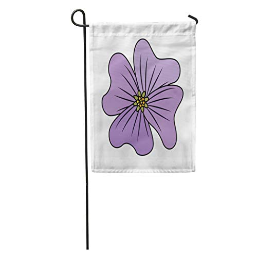 "Semtomn Seasonal Garden Flags 28"" x 40"" Green Abstract Flower Periwinkle Delicate Floral Nature Petals Pink Outdoor Decorative House Yard Flag"