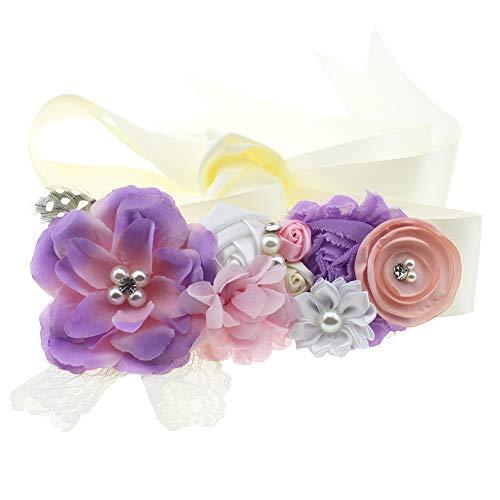 - Lovemyangel Bridal Sash Belt Bride Maternity Satin Flower Ribbon Sash Baby Girls Dress Accessories for Wedding Decoration (Lavender)