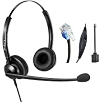 Telephone Headset RJ9 Headset Corded with Noise Cancelling Microphone for Landline Phones Cisco Fanvil Grandstream Htek Yealink Akuvox Dlink Escene Huawei Snom