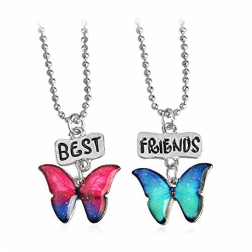 Animal Butterfly Necklace - 4EAELove Best Friends Butterfly Necklace Engraved Pendant Alloy Relationship Jewelry Silver BFF Lover