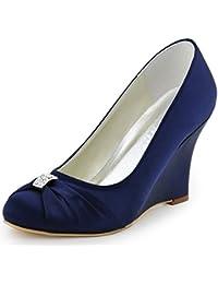 Women High Heel Pumps Closed Toe Rhinestones Satin...