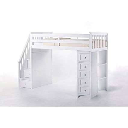 NE Kids School House Stair Loft Bed With Chest End In White