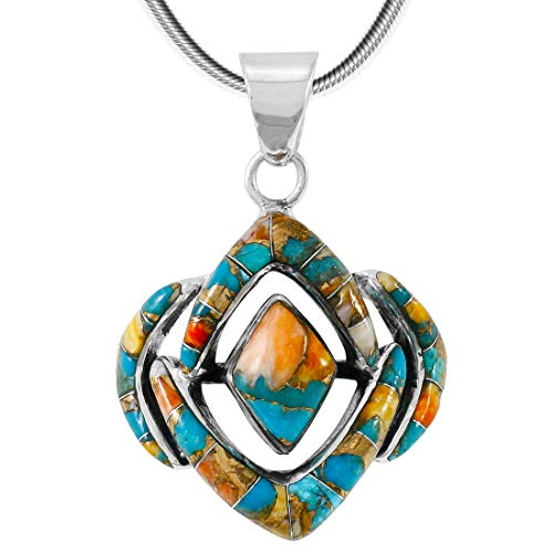 "Spiny Turquoise Pendant Necklace 20"" Sterling Silver 925 Genuine Gemstones (20"", Spiny Turquoise)"
