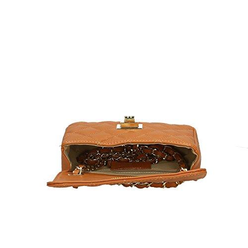 cuir Aren Cm Italy à en Sac véritable 19x12x5 Made Bronzage bandoulière femme in RXqXpPwr