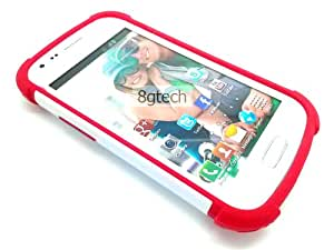 8gtech White Heavy Duty Hybrid Hard Red Silicone Case Cover For Samsung Galaxy Ace 2X Ace II-X GT-S7560M+Screen Protector