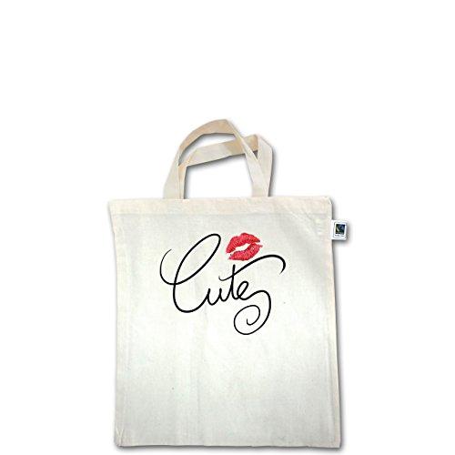 Statement Shirts - Cute Lips - Unisize - Natural - XT500 - Fairtrade Henkeltasche / Jutebeutel mit kurzen Henkeln aus Bio-Baumwolle