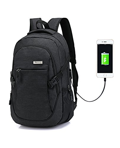 Backpack Laptop Backpacks Hoperay Business Lightweight Nylon Water Resistant Multipurpose Shoulder Notebook Backpacks with USB Charging Port Under 17-Inch Laptop and Notebook(Black)