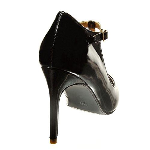 Angkorly - damen Schuhe Pumpe - T-Spange - Sexy - Patent Stiletto high heel 9.5 CM - Schwarz
