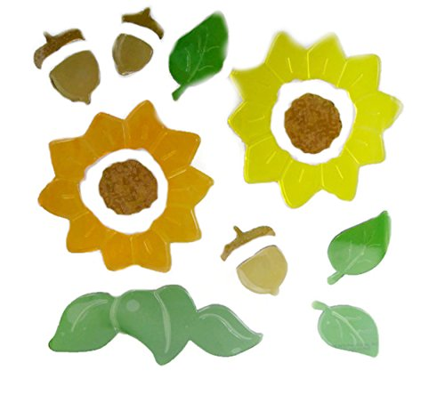Fall Harvest Gel Window Cling Reuseable Stickers - Sunflowers-Acorns-Leaves (14 Count)