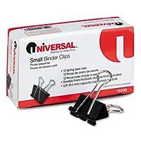 Universal UNV10200 Small Binder Clips 3/8 Capacity 3/4 Wide 1 Dozen Black