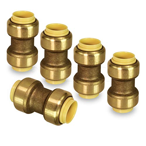 - Pushlock UPSC34-5 Straight Coupling Pipe Fittings Push to Connect Pex Copper, CPVC, 3/4 Inch, Brass Pack of 5