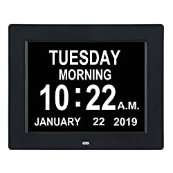 TMC [Newest Version] Digital Calendar Day Clock -Extra Large Impaired Vision Memory Loss Clock with 12 Alarm Options for Seniors, Elderly, Dementia, Alzheimer (8-inch,Black)
