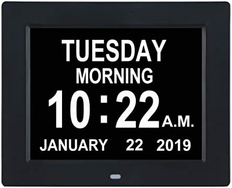TMC Newest Version Digital Calendar Day Clock -Extra Large Impaired Vision Memory Loss Clock with 12 Alarm Options for Seniors, Elderly, Dementia, Alzheimer 8-inch,Black