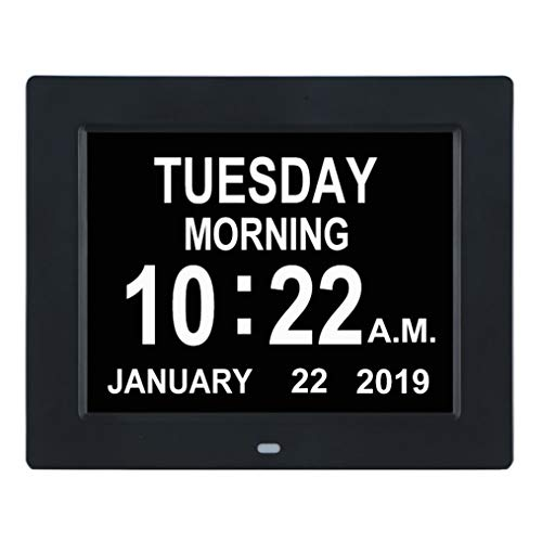 - TMC [Newest Version] Digital Calendar Day Clock -Extra Large Impaired Vision Memory Loss Clock with 12 Alarm Options for Seniors, Elderly, Dementia, Alzheimer (8-inch,Black)
