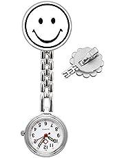 SRXWO Unisex Krankenschwesteruhr Analog Quarz Taschenuhr mit Clip auf Brosche Medizinische Edelstahl Armband, Schwesternuhr für Herren Damen Doctor Paramedic Silber