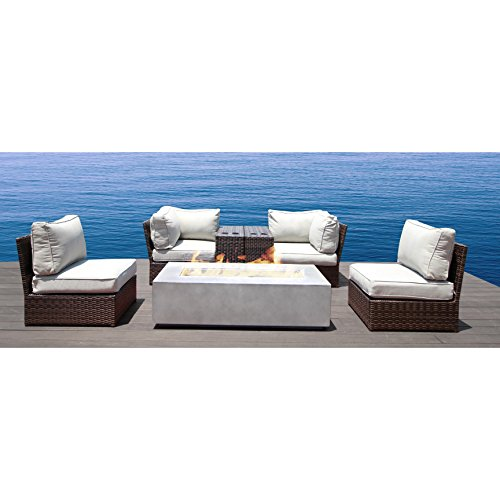 7 Piece Fire Pit Patio - Patio Set With Fire Pit : Lucca collection Wicker Patio Resort Grade Furniture Sofa Set For Garden, Backyard, Porch, Pool With Seat and Back Cushions  No Assembly Required (7 Piece Cup Table)