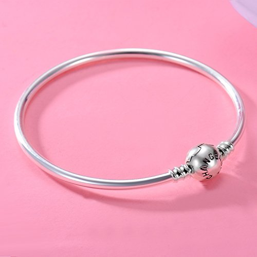 Changeable 925 Sterling Silver Women Charms Bracelet (Smooth Bangle) 19CM by Changeable (Image #4)