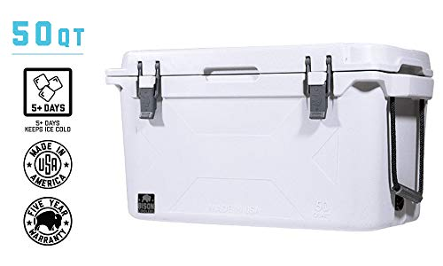 BISON COOLERS 50 Quart. Heavy Duty High-Performance Ice Chest. Commercial Grade Insulation fit for Outdoor, Camping, Travel, More w/Easy Grab Handles. Durable 5-Year Warranty Made in The USA. White