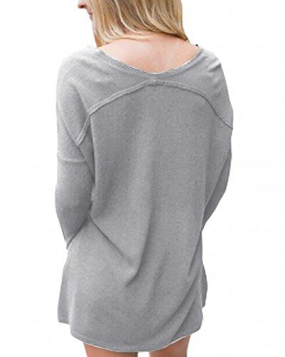 Lunga ACHIOOWA Elegante Nuovo Shirt Manica Primavera Grigio T V Donna Maglie Maglietta Bello Casual Top Collo r8nEPpraqw