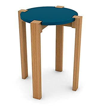 dar Living Retro Wood Stool Side Table, Moonlight Blue