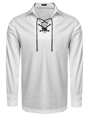 Coofandy Mens Scottish White Jacobite Ghillie Kilt Shirt White Medium