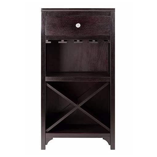 Home Bar Cabinetry Winsome Ancona Wine Storage, Dark Espresso home bar cabinetry