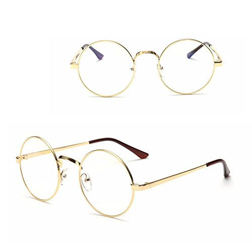 dc7704dad4b4 Littlegrass Round Circle Frame Clear Lens Glasses Vintage Oversized Metal  Brown Black Silver Gold (Gold