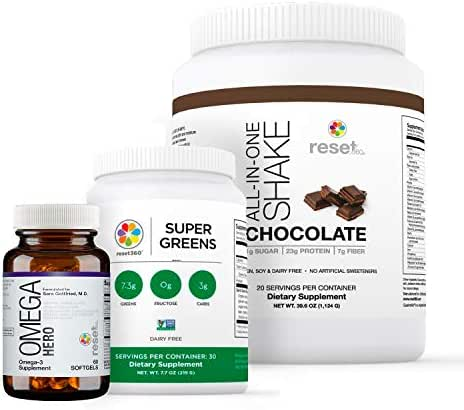 Reset360 Love Yourself Kit Including Super Greens Superfood Diet Protein Powder, Omega Hero Omega 3 EPA-DHA 1000 Supplement, Chocolate Protein Powder All-in-One Meal Replacement Shake