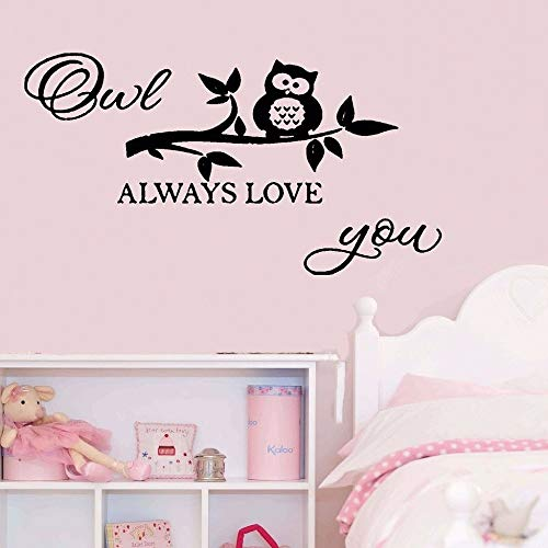 Hueoi Vinyl Wall Decal Wall Stickers Art Decor Quotes Owl Always Love You Cute Little Owl Kids Bedroom Nursery Room Decor]()