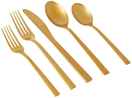 Cambridge Silversmiths 20 Piece Cortney Stainless Steel Flatware Set (Service for 4), Gold Matte (Satin Finish Gold Finish)